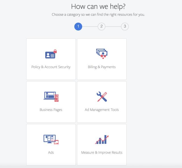 Facebook Ads Support Categories