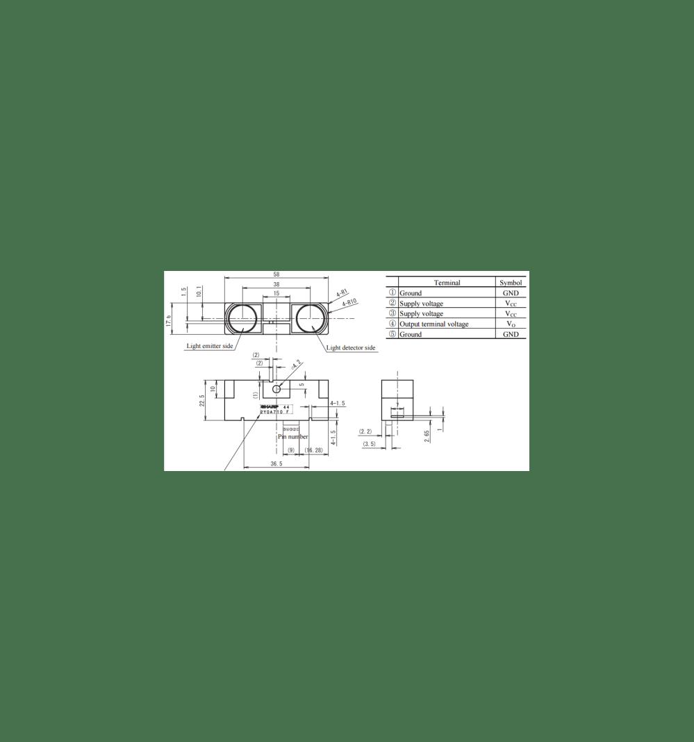 medium resolution of  ir distance sensor sharp gp2y0a21yk0f 10cm 80cm