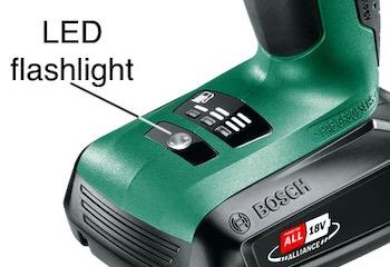 The location of the flashlight on the Bosch PSB 1800 LI-2 combi drill