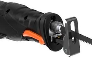 The front of the Tacklife RPRS01A recip saw showing the lever to adjust the foot