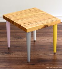 Wood Shim Side Table with Tapered Mid-Century Modern Legs ...