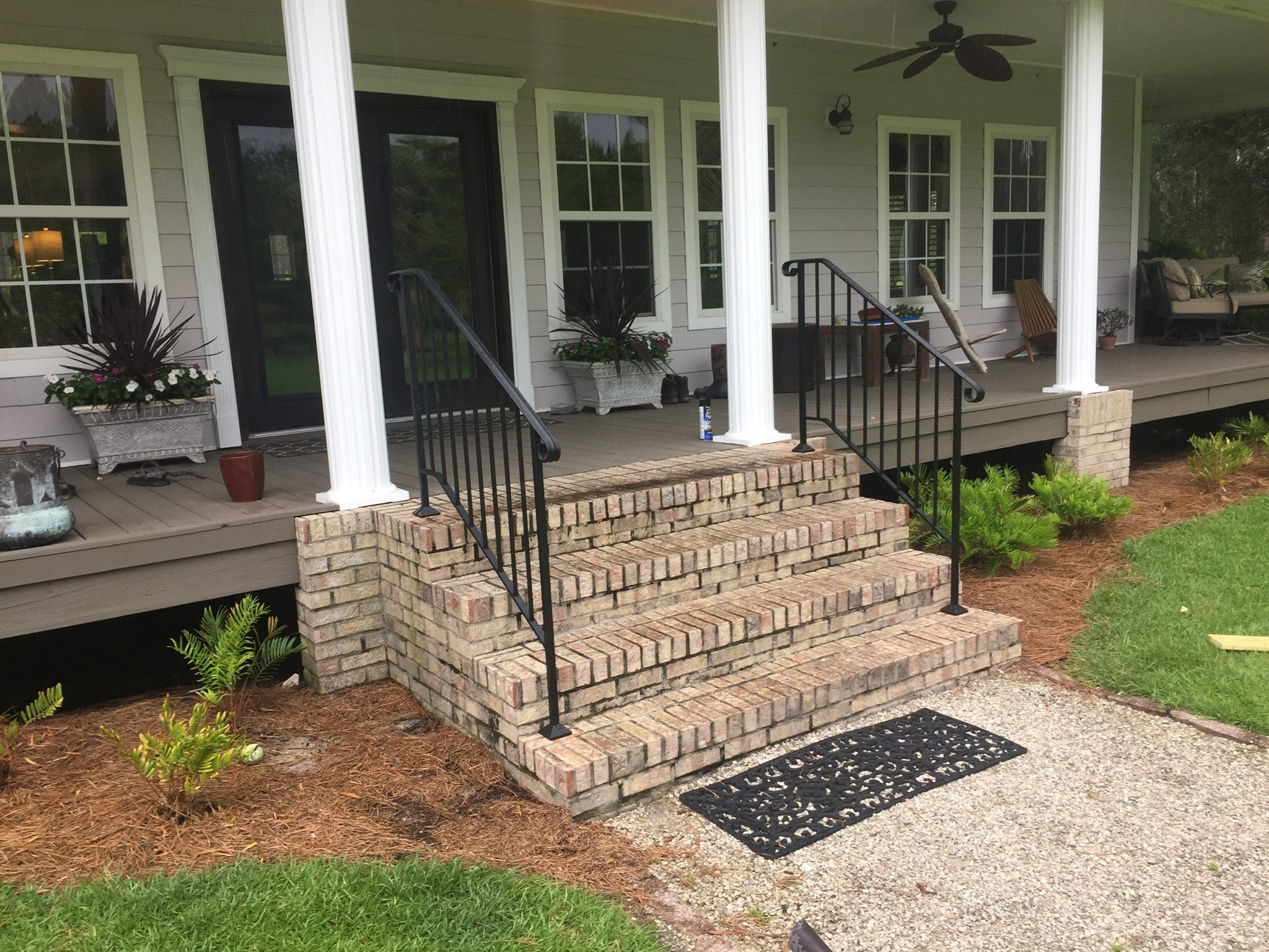 Shop Diy Wrought Iron Handrail Handrails For Indoor Outdoor Steps | Disabled Handrails For Outside Steps | Elderly | Full Width | 2 Step | Outdoor | Industrial Pipe
