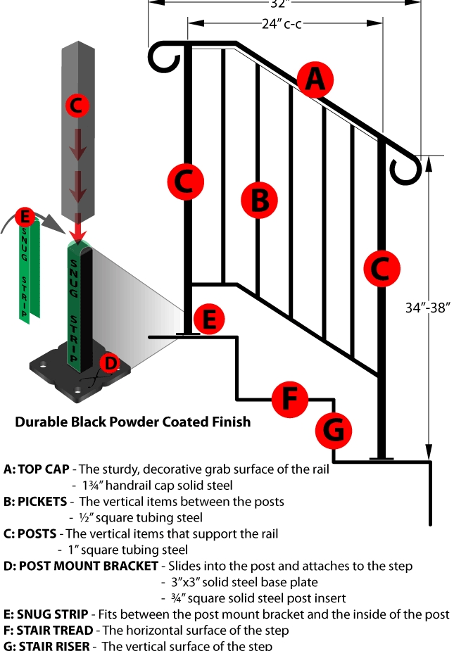 Picket 2 Diy Handrails | Iron X Handrail Picket