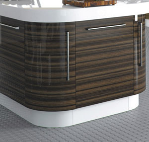 high gloss acrylic kitchen cabinets natural maple curved plinth for units - custom made kitchens and ...