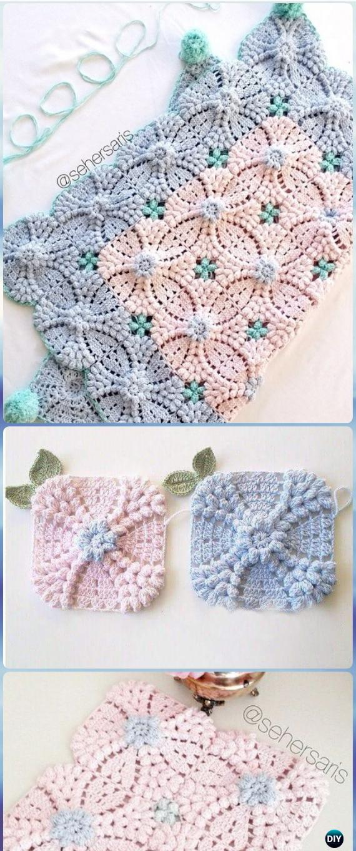 Crochet Pearl Flower Popcorn Square Motif Free Patterns