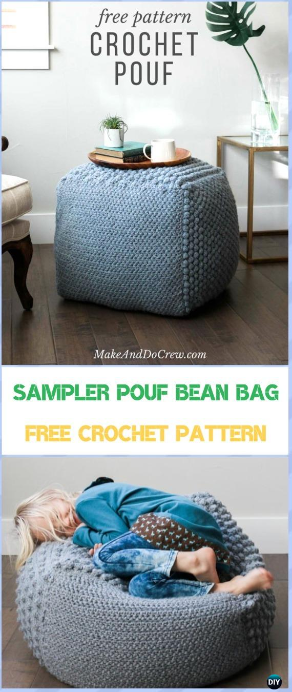 comfy chair and ottoman covers for bar height chairs crochet poufs & free patterns diy tutorials