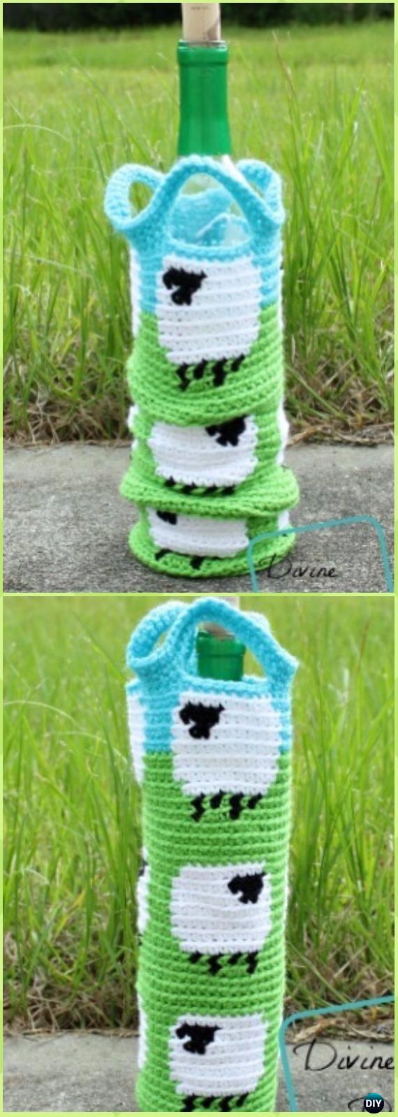 Crochet Wine Bottle Cozy Bag  Sack Free Patterns