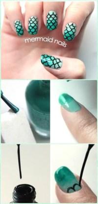 DIY Mermaid Nail Art Manicure Tutorials Summer Beach Nails