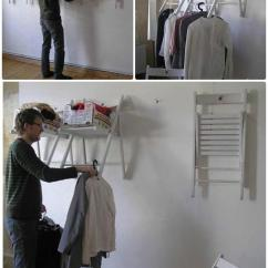 Folding Chair Racks Diy Tub Covers Argos Diyhowto Wall Mounted Laundry Rack Ways To Repurpose Old Chairs Ideas