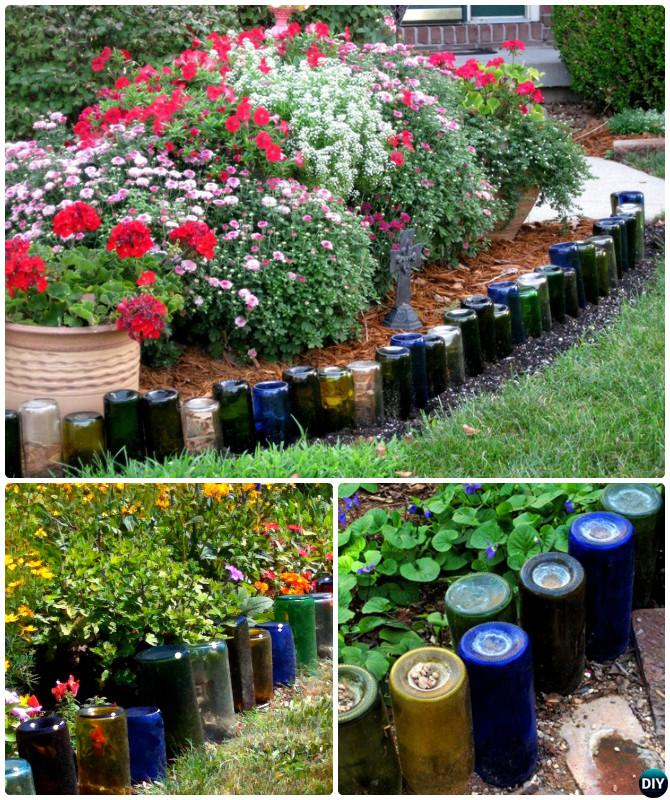 Glass Bottle Garden Bed Edging - 20 Creative Garden Bed Edging Ideas Projects Instructions