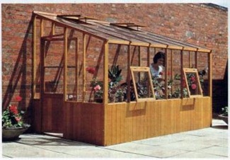 timber lean to greenhouse