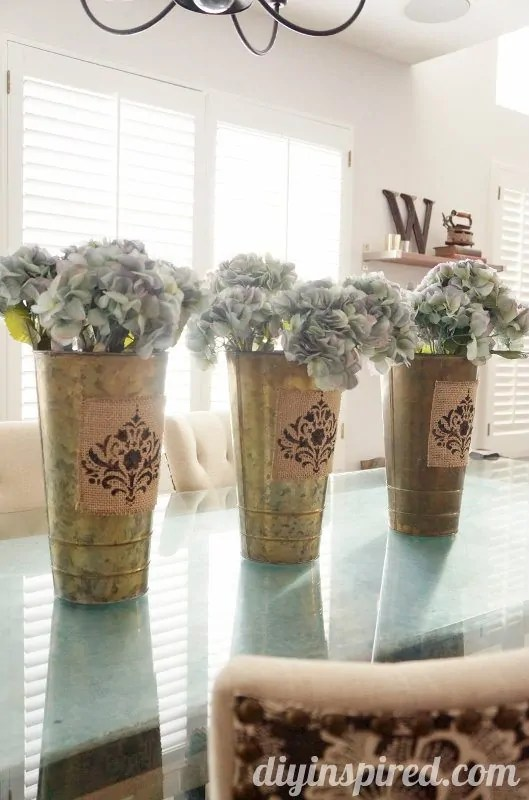 Spring Centerpiece with Stenciled Burlap  DIY Inspired
