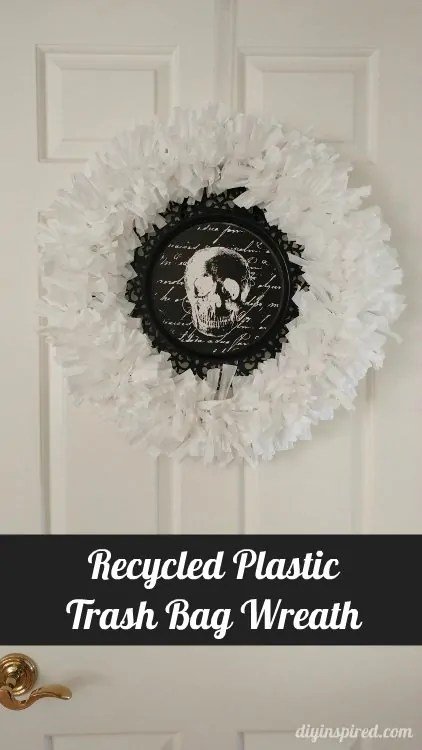 glad kitchen bags stand alone cabinets recycled plastic trash bag wreath - diy inspired