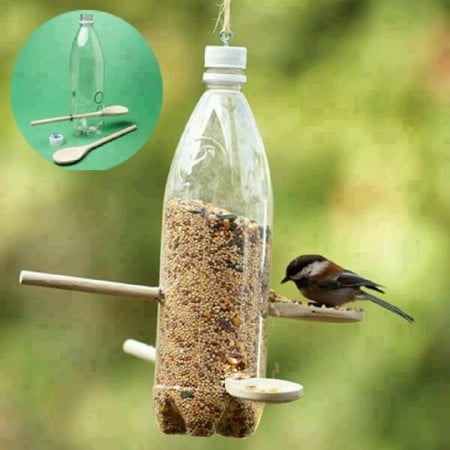 Image result for bird feeder using plastic bottle
