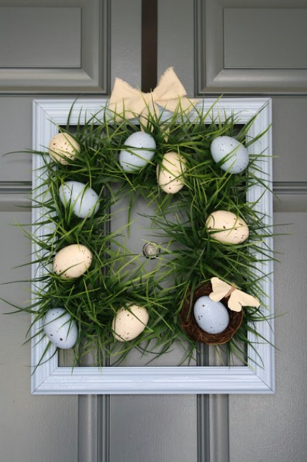 Square Grass Wreath - 40 Creative DIY Easter Wreath Ideas to Beautify Your Home