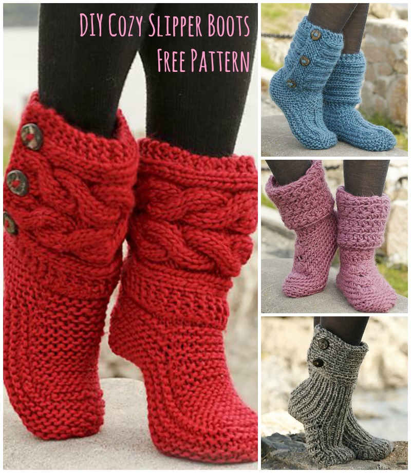 Knit Boot Socks With Buttons