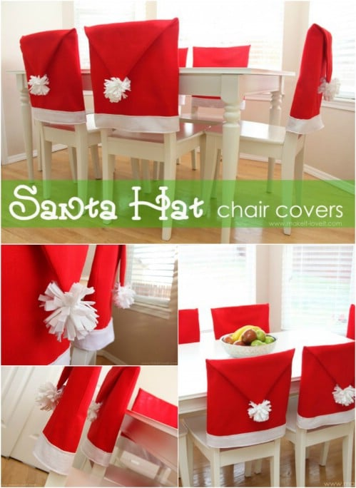 santa hat chair covers magical diy christmas home decorations youll want right