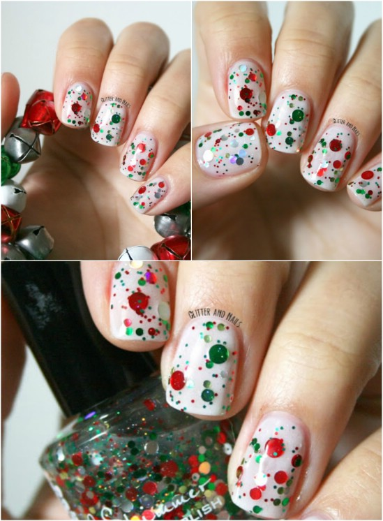 Red And Green Glitter 20 Fantastic Diy Christmas Nail Art Designs That Are Borderline Genius