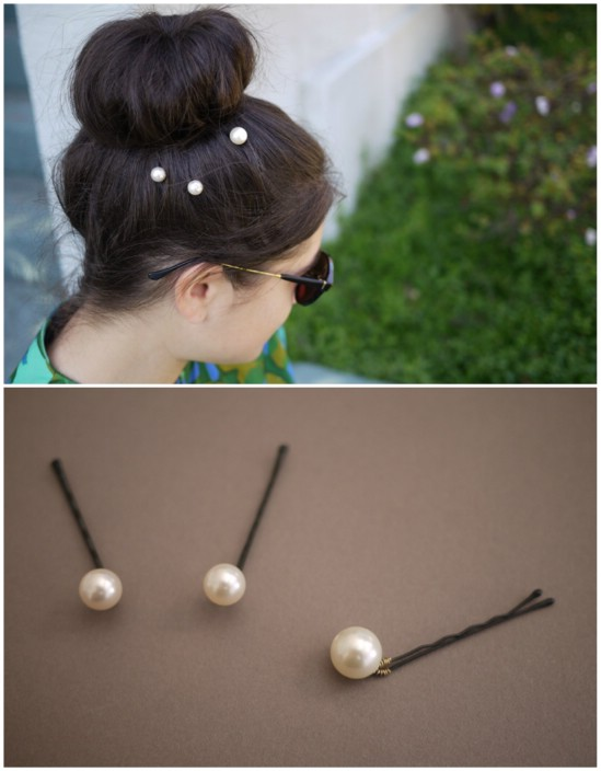 DIY Pearl Pins - 21 Unexpectedly Stylish Ways to Wear Bobby Pins