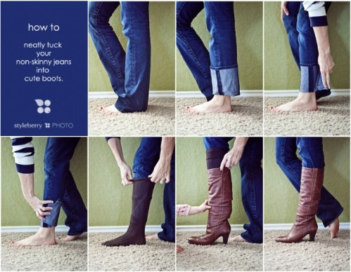 Tucking Non-Skinny Jeans in Boots