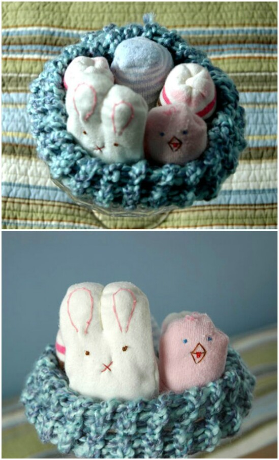 Baby Sock Bunnies And Chicks - 20 Adorably Creative Upcycling Projects To Repurpose Old Baby Clothes