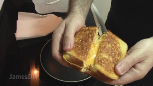 Make grilled cheese on parchment paper.