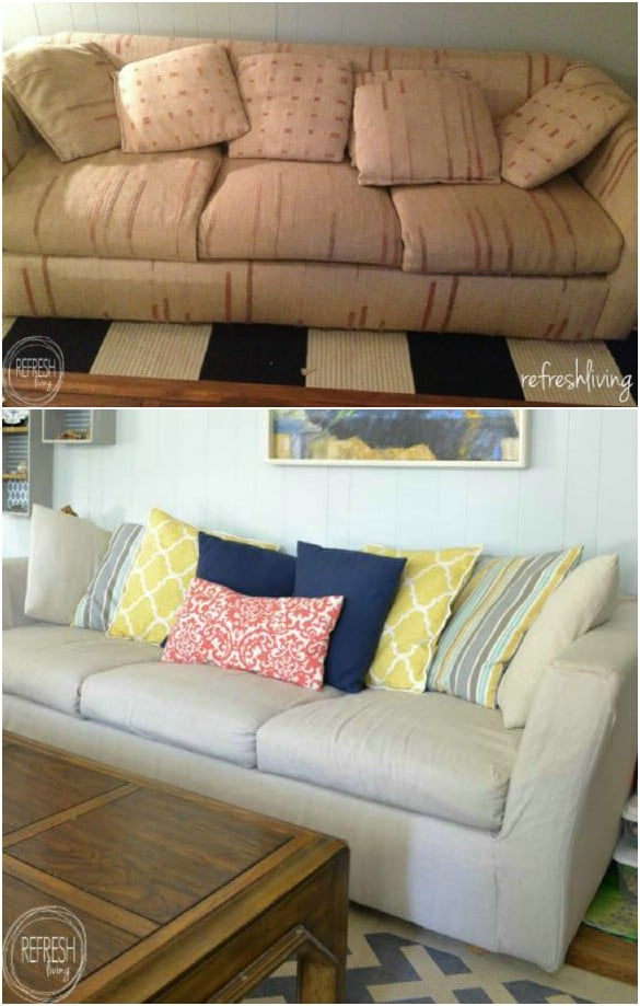 diy living room chair cover pic of modern 20 easy to make slipcovers that add new style old furniture drop cloth slipcover