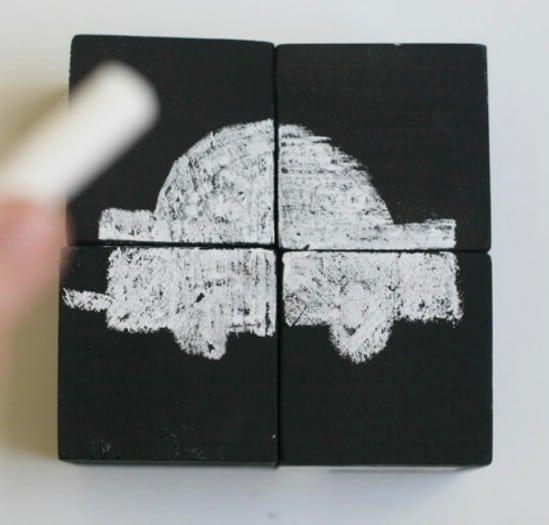 DIY Chalkboard Block Puzzle