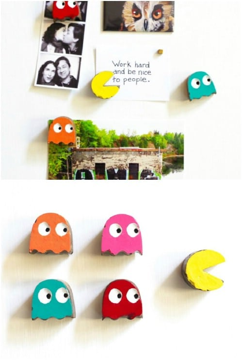 kitchen magnets hardwood floor 20 easy diy refrigerator to decorate your with fun cement pacman