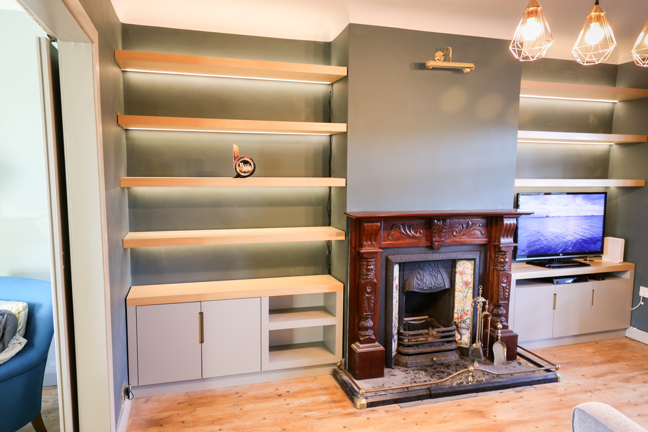 Before Amp After Living Room Alcove Shelving Diy Newb Ie