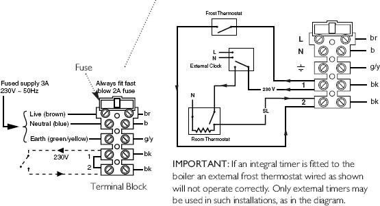 wiring thermostat to combi boiler