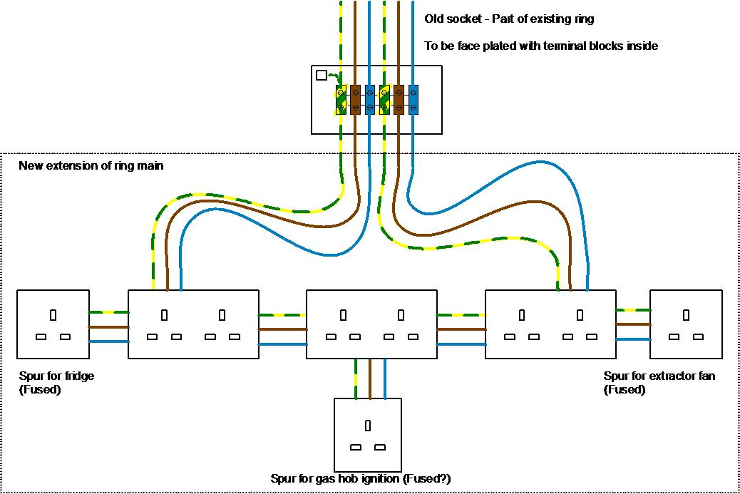 double switch wiring diagram jensen vm9311 extending a ring main off an existing socket (not used) | diynot forums