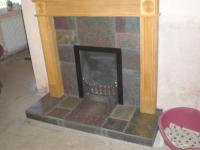 Natural slate tiles in fireplace