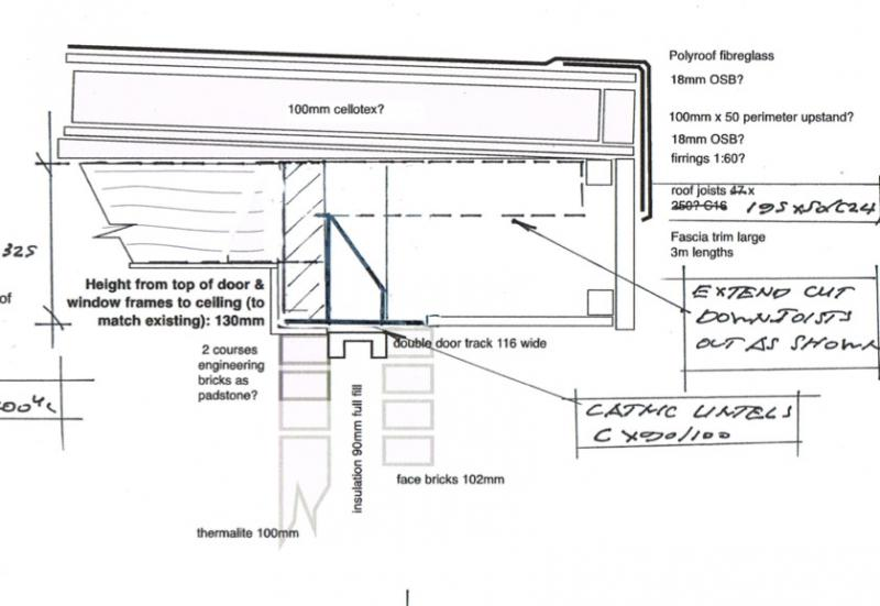How to fit flat roof joists into/across big catnic lintel