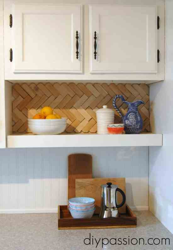 DIY Herringbone Wood Shim Back Splash