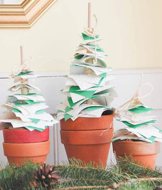 Make Your Own Potted Paper Christmas Trees