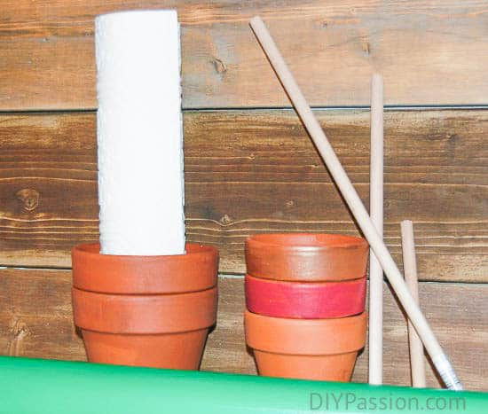 Supplies for Potted Paper Christmas Trees