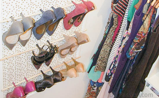A DIY Way to Save Closet Space with Shoes on the Wall