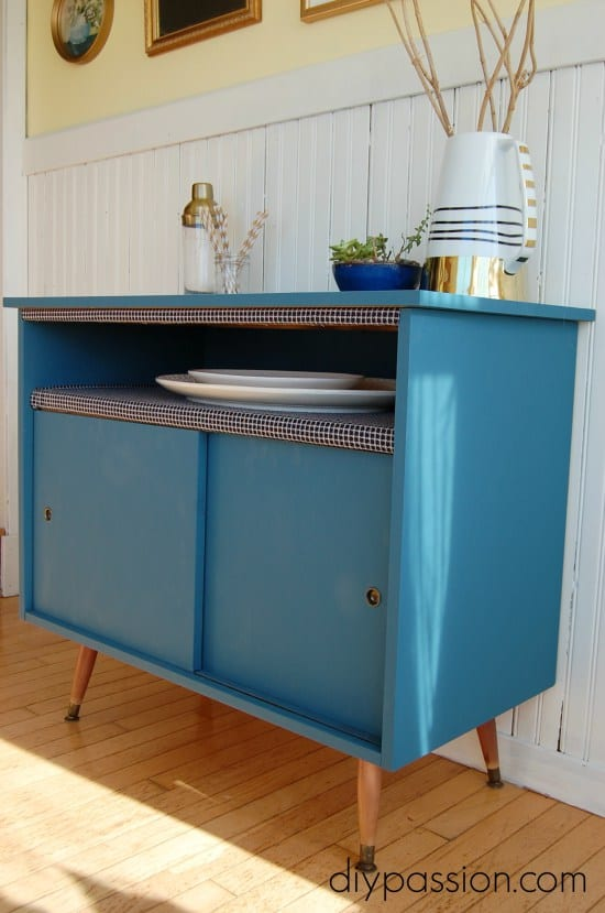 Fabric Lined Shelf on a Dining Buffet