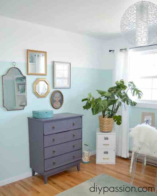 Painted Purple dresser and two toned walls in blog office