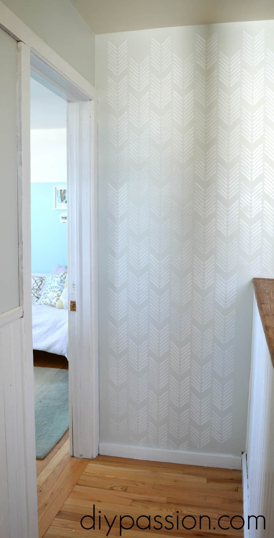 How to brighten a boring hallway using paint how to stencil a wall amipublicfo Gallery