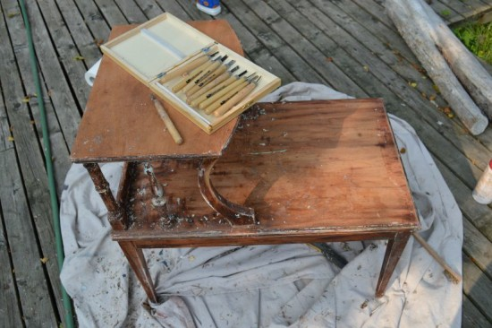 Stripping a Table Wood tools