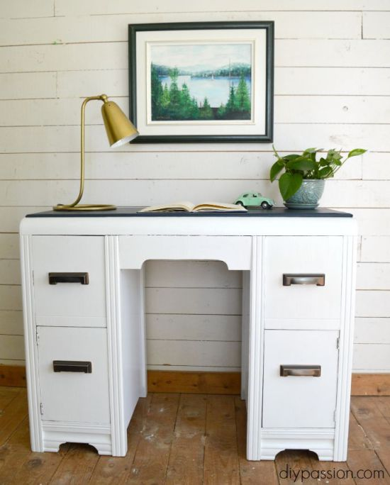 How to paint a vintage desk and make a new desk top with vinyl