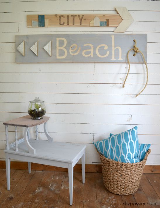 DIY Scrap Wood Sign Beach & City