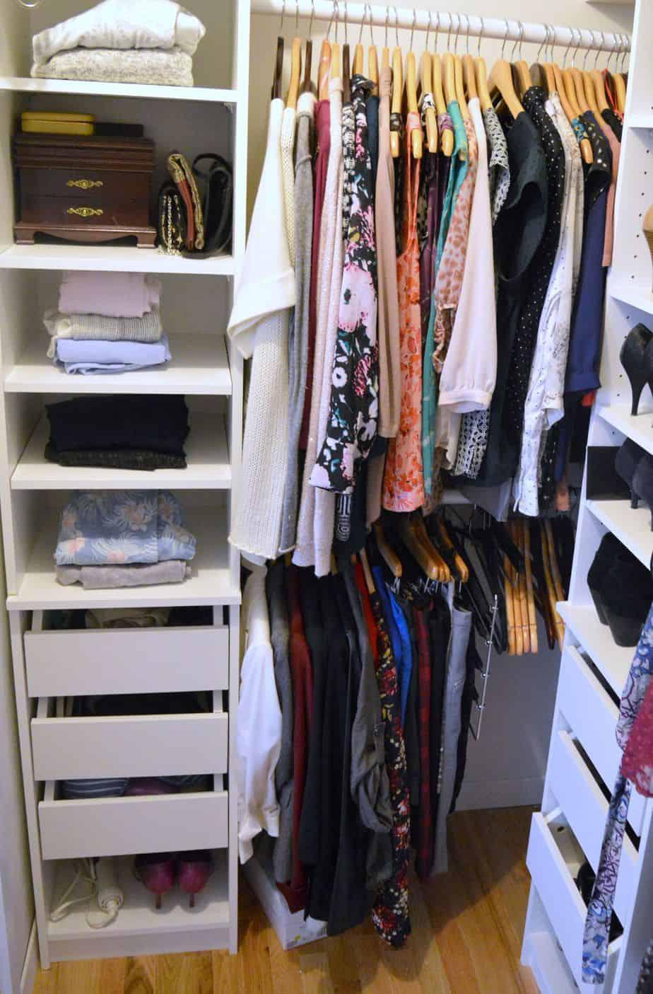 decluttering the closet using the konmari method. Black Bedroom Furniture Sets. Home Design Ideas