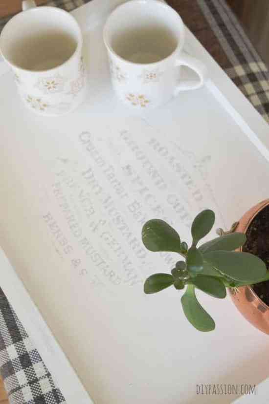 DIY Coffee Tray with Wax Paper Transfer Graphics