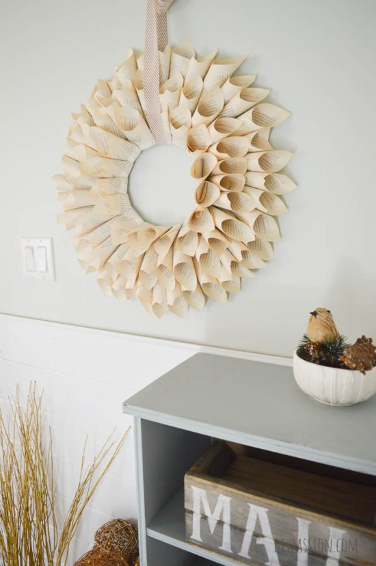 Rustic Recycled Book Page Wreath