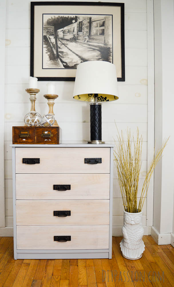 Grey Distressed Dresser With Whitewashed Drawer Fronts