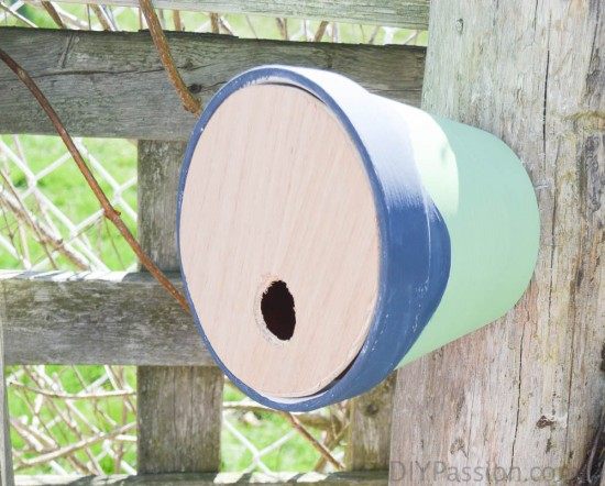 Make a birdhouse from a pot