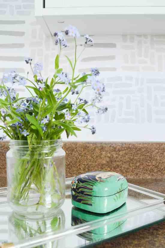 Cute blue flowers in a coastal themed bath